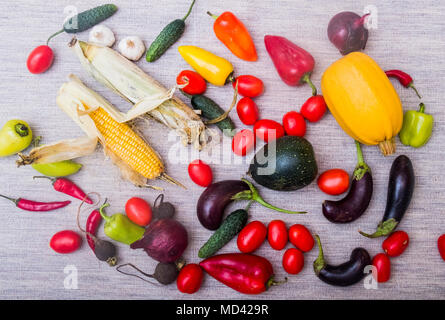 Selection of fresh vegetables on table, overhead view - Stock Photo