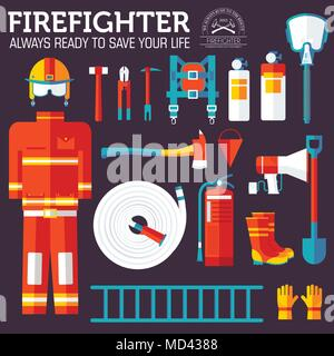 firefighter uniform and first help equipment and instruments. On flat style background concept. Vector illustration for colorful template for you design, web and mobile applications - Stock Photo