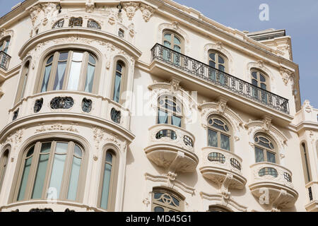 Art Nouveau architecture in the old town, Malaga, Costa del Sol, Andalucia, Spain, Europe - Stock Photo