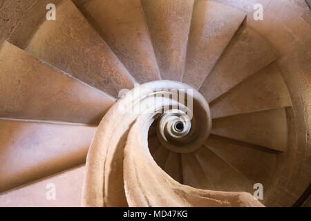 Looking down on stone spiral staircase inside the Iglesia de Santa Maria la Mayor church, Ronda, Andalucia, Spain, Europe - Stock Photo