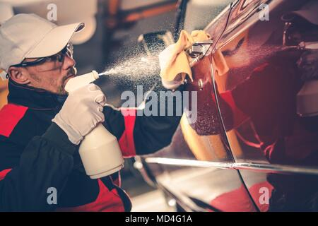 Cleaning American Classic Car. Washing and Detailing By Professional Worker.