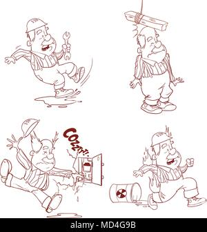 Set of Construction worker, Accident working, safety first, health and safety, vector illustration - Stock Photo