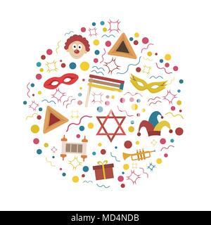 Purim holiday flat design icons set in round shape. Vector eps10 illustration. - Stock Photo