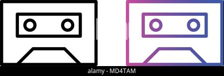 cassette line icon. vector illustration in two styles - Stock Photo