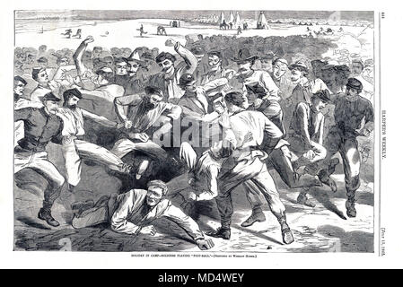 US Mob Football, 1865 engraving in Harpers Weekly of soldiers in camp playing a rough game of football, a precursor of rugby, American football and soccer with seemingly little organisation and few rules - Stock Photo