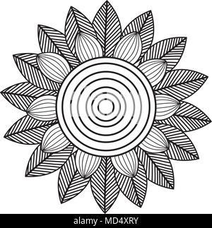 monochrome and circular mandala - Stock Photo
