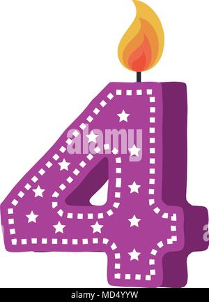 birthday candle with number four - Stock Photo