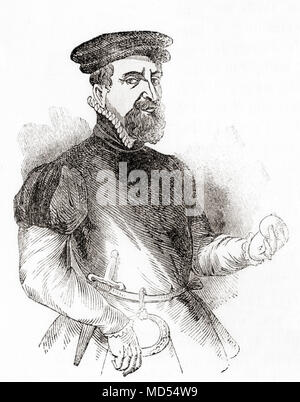 Sir Thomas Gresham the Elder, c. 1519 – 1579.  English merchant and financier.  From Old England: A Pictorial Museum, published 1847. - Stock Photo