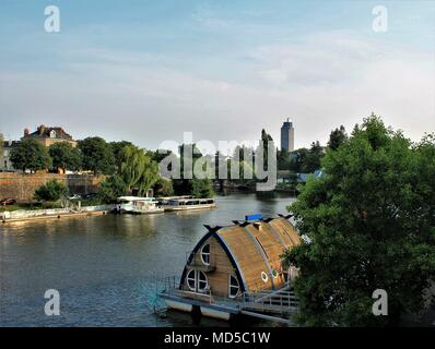 Erdre river and the Tour Bretagne in Nantes, Loire Atlantique, Pays de la Loire region, France - Stock Photo