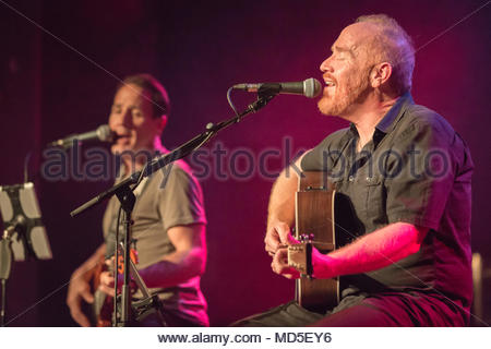 YouTube star Mike Massé together with bass man Sterling Cottam live in concert at the Lindenpark in Potsdam, Germany. - Stock Photo