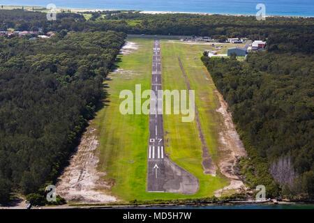 Aerial view of Lake Macquarie Airport, NSW, Australia - Stock Photo