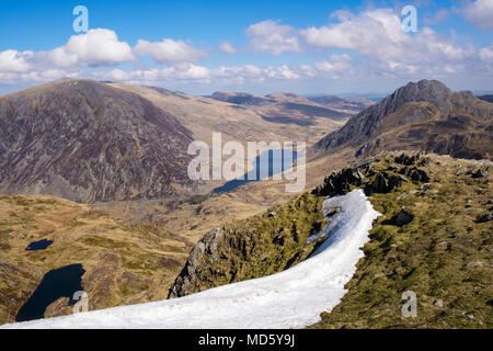 Scenic landscape seen from Y Garn ridge above Ogwen Valley in mountains of Snowdonia National Park in early spring. Ogwen, North Wales, UK, Britain - Stock Photo