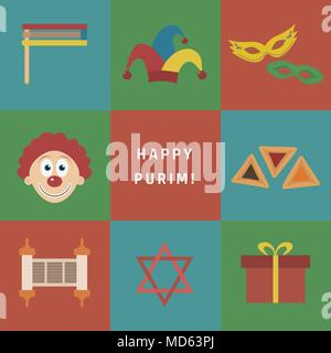 Purim holiday flat design icons set with text in english Happy Purim. Vector eps10 illustration. - Stock Photo