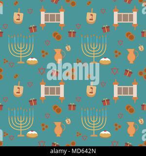 Hanukkah holiday flat design icons seamless pattern. Vector eps10 illustration. - Stock Photo