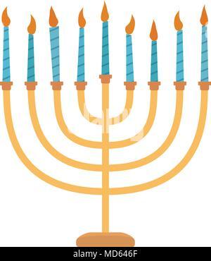 Hanukkah holiday Menora flat design icon. Vector eps10 illustration. - Stock Photo