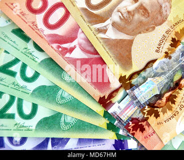 MONTREAL, CANADA - MARCH 10, 2018: Canadian bank notes, 20 and 50 dollars. - Stock Photo