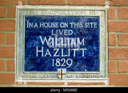 city of london blue plaque marking the site of the 1829 home of writer william hazlitt, bouverie street, london, england - Stock Photo
