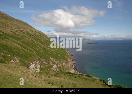 View from High over the Atlantic Ocean from the Westcoast of Ireland with Mountain in the distance - Stock Photo
