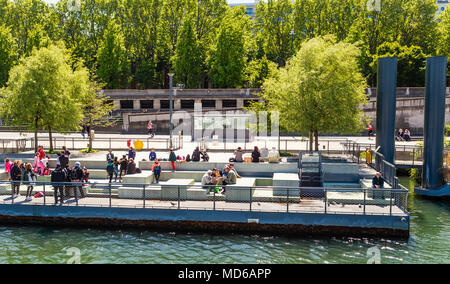 Piers for tourists on the river Seine.  Quai d'Orsay. Paris. France - Stock Photo