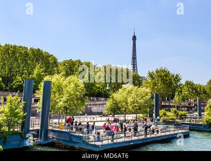 Piers for tourists on the river Seine.  Quai d'Orsay. Paris. France - Stock Photo