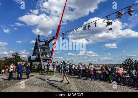 Former Place of Stalin's Monument, Now Popular Place to Meet, People at Prague Metronome, Prague Letna Park Prague, Czech Republic - Stock Photo