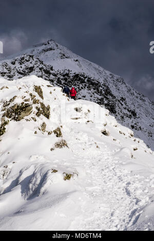 Hikers hiking up hill on south ridge at Bwlch Main to summit of Mount Snowdon with snow in winter in Snowdonia National Park. Gwynedd Wales UK Britain - Stock Photo