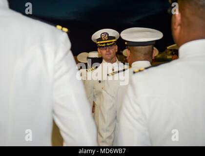 180316-N-PN275-1024 SAN DIEGO (Mar. 16, 2018)  Capt. Alan Christian, director of Directorate for Administration (DFA) at Naval Medical Center San Diego inspections officers during a dress white inspection. DFA is committed to providing quality, timely, innovative and economical healthcare administration to staff and patients of NMCSD. (U.S. Navy Photo by Mass Communication Specialist 2nd Class Zachary Kreitzer) - Stock Photo