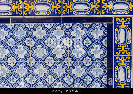 Set of typical Catalan mosaics, with animal and nature motifs. Barcelona, Spain. - Stock Photo