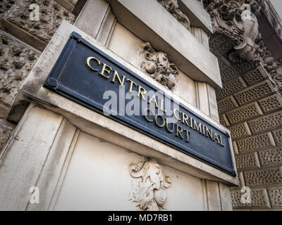 Central Criminal Court sign on exterior of Old Bailey, London, UK. - Stock Photo