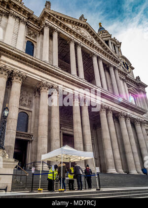 Security and bag check outside St Paul's Cathedral, London, UK as a result of terrorist attacks in the capital. - Stock Photo