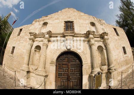 a fisheye photograph of the revered Texas icon, the Alamo in San Antonio, Texas - Stock Photo