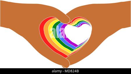 Support LGBTQ concept. Seven pairs of colorful hands in heart shapes on transparent (white) background, Vector illustration. - Stock Photo