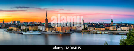 An evening panoramic view over Stockholm from the island of Södermalm - Stock Photo