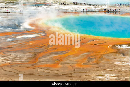 Close up of tourists walking over the elevated walkway by the Grand Prismatic Spring inside Yellowstone national park, Wyoming, USA.