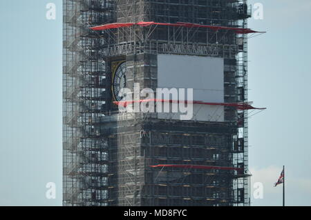 The restoration works on Big Ben in London - Stock Photo