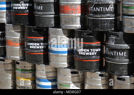 Several beer kegs stacked outside a pub at Southbank, London - Stock Photo