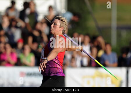 Lucerne, Switzerland. 17th, Jul 2012.  Christina Obergfoll of Germany in action during the Women's Javelin Throw event of the Meeting athletics compet - Stock Photo