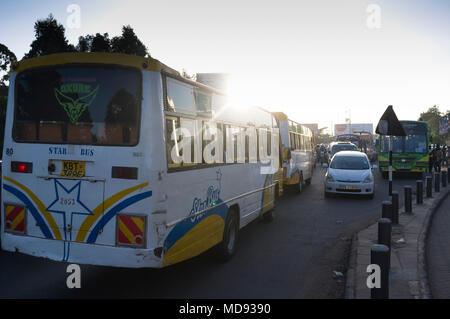 Evening rush hour, traffic congestion, Ngong Road, Nairobi, Kenya - Stock Photo