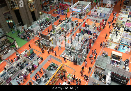 Taipei. 19th Apr, 2018. Photo taken on April 19, 2018 shows the Giftionery Taipei 2018 held in Taipei, southeast China's Taiwan. Credit: Lin Shanchuan/Xinhua/Alamy Live News - Stock Photo