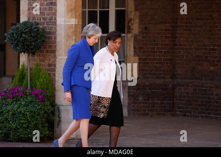 London, UK. 19th April 2018. Prime Minister of the United Kingdom, Teresa May and the Commonwealth Secretary General Patricia Scotland at the Friary Court during the Commonwealth Heads of Government Meeting in London, England, April 19, 2018. Credit: Michal Busko/Alamy Live News - Stock Photo