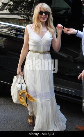 London, UK, 19th April 2018. Kylie Minogue seen arriving to BBC Wogan House studios Credit: WFPA/Alamy Live News - Stock Photo