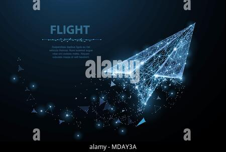 Paper airplane. Polygonal mesh art looks like constellation. Concept illustration or background - Stock Photo