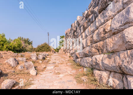 Ruins of Ancient Greek City of Priene in Soke,Aydin,Turkey - Stock Photo
