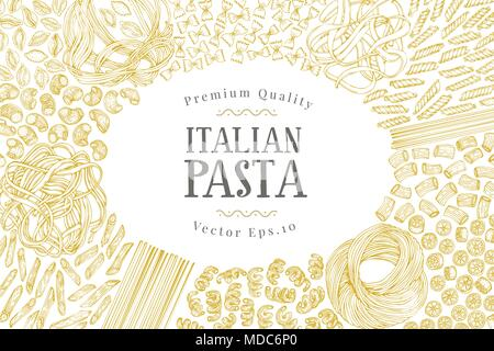 Vector banner template with different types of traditional Italian pasta. Hand drawn background. Can be use for menu or packaging design. Italian cuisine illustration. - Stock Photo