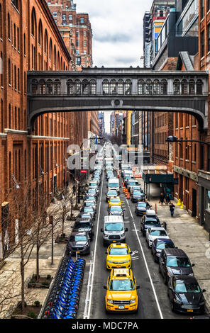 New York City,New York, Jan 2018, the West 15th street skybridge between two buildings above one of downtown Manhattan street - Stock Photo