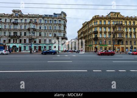 SAINT PETERSBURG - JUNE 14, 2015: View of Nevsky Prospect in St.Petersburg - Stock Photo