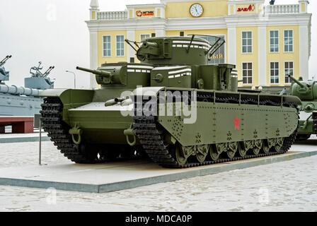 RUSSIA, VERKHNYAYA PYSHMA - FEBRUARY 12. 2018:  Soviet multi-turreted heavy tank T-35 in museum of military equipment - Stock Photo