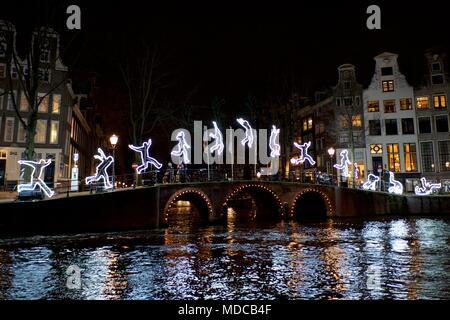 Amsterdam / Netherlands - December 14th 2015: Lighted decorations in the city of Amsterdam during the annual Amsterdam Lights Festival. - Stock Photo