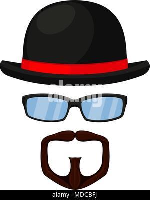 Colorful cartoon hipster avatar - Stock Photo