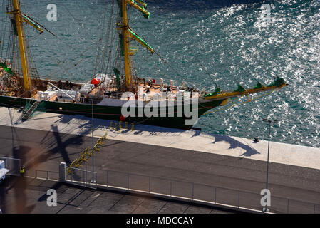 The Marina and busy Port in Funchal Madiera - Stock Photo